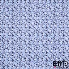 Gaze de Coton Imprimé Motif fleuri bleu marine Fond bleu clair