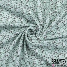 Gaze de Coton Imprimé Motif fleuri gris anthracite Fond vert d'eau