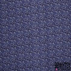 Gaze de Coton Imprimé Motif fleuri bleu clair Fond bleu marine