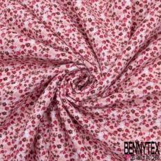 Gaze de Coton Imprimé Motif fleuri fuchsia Fond rose