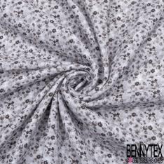 Gaze de Coton Imprimé Motif fleuri gris anthracite Fond gris perle