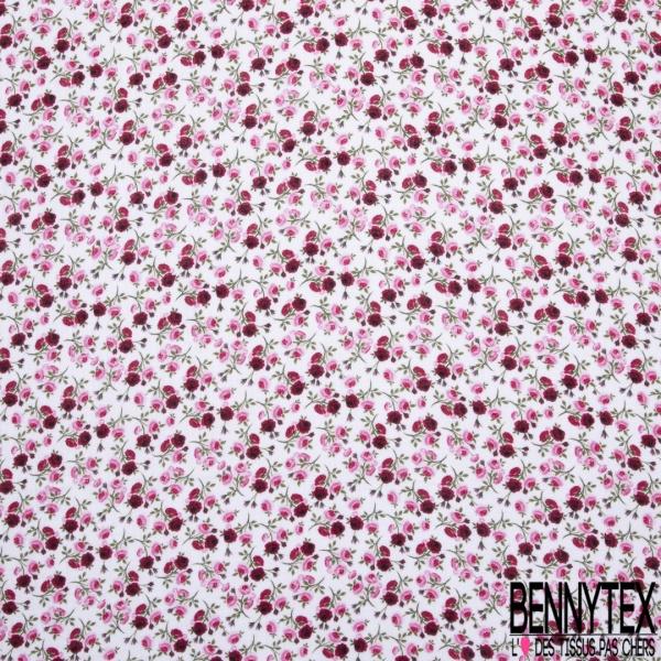 Gaze de Coton Imprimé Motif fleur ton rose et fuchsia Fond blanc cassé