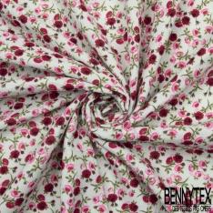 Gaze de Coton Imprimé Motif fleur ton rose et fuchsia Fond vert d'eau