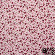 Gaze de Coton Imprimé Motif fleur ton rose et fuchsia Fond rose