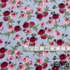Gaze de Coton Imprimé Motif fleur ton rose et fuchsia Fond moutarde