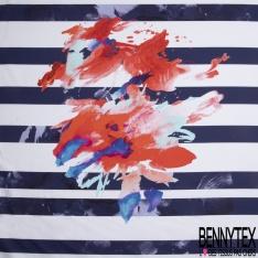 Satin de Coton Elasthanne Imprimé grosse fleur corail et ton bleu Fond rayure blanc et bleu marine