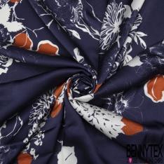 Fibrane Viscose Imprimé Motif fleur blanc et orange effet satiné Fond bleu marine