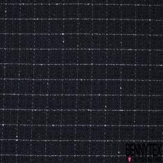 Coton Natté Imprimé Carreaux tressé blanc Fond bleu marine et noir LUREX