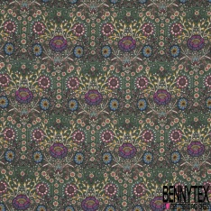 Crêpe Polyester Fluide Imprimé Motif fleur fantaisie multicolore Fond kaki