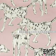 Satin Polyester Imprimé chien dalmatien Fond rose