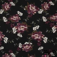Jersey Viscose Imprimé Motif grande fleur ton prune Fond noir