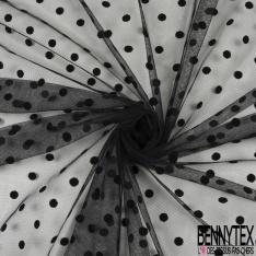 Tissu Resille Polyester Imprimé petit pois noir velours floquée