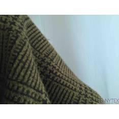 Laine Quadrillé couleur ton Vert Anglais/vert Kaki effet Mouton