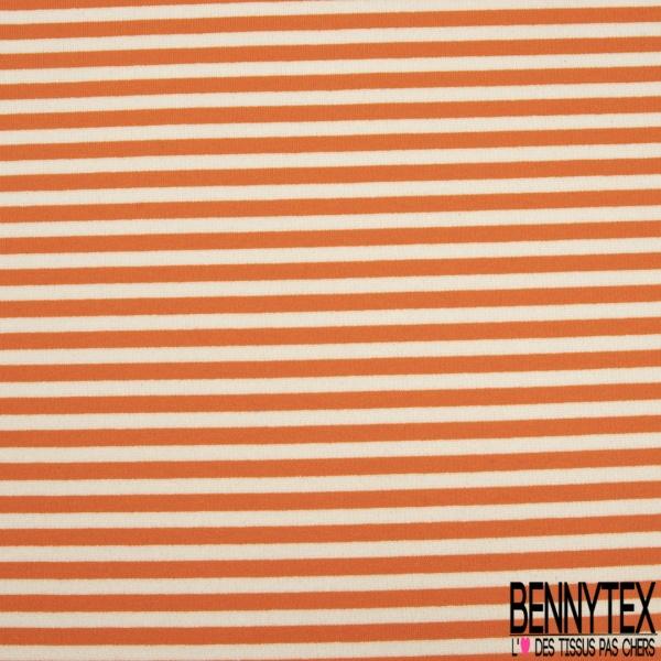 Maille Jersey Milano Lourd Imprimé Rayure orange et blanc cassé