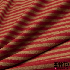 Jersey Viscose Imprimé Motif rayure camel et rouge
