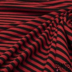 Jersey Viscose Imprimé Motif rayure noir et rouge