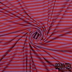 Jersey Viscose Imprimé Motif rayure mauve et rouge vif