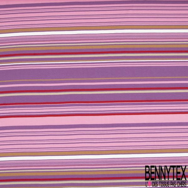 Jersey Viscose Imprimé Motif rayure dépareillée vert pastel lilas mauve et rouge