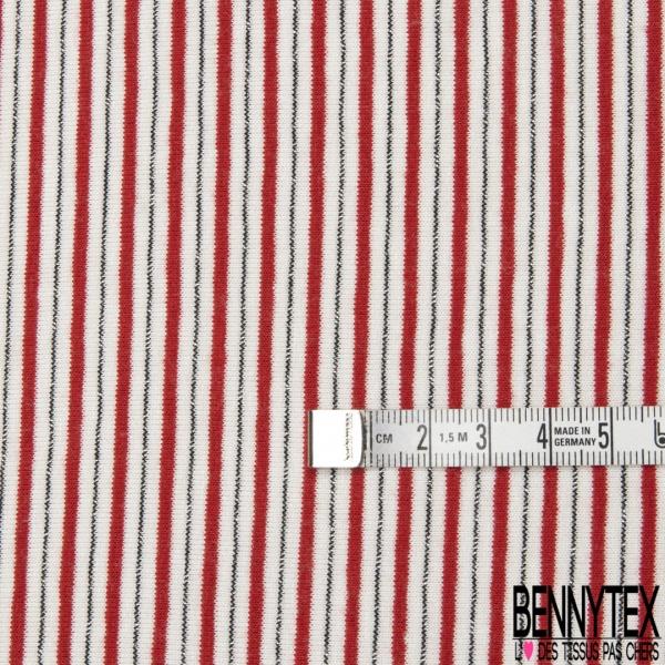 Jersey Viscose Imprimé Motif fine rayure rouge LUREX et blanc cassé