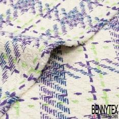 Coton Natté Imprimé Carreaux bleu roi violet et vert Fond écru
