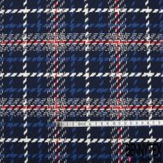Coton Natté Imprimé Carreaux rouge vif écru et bleu roi Fond bleu marine