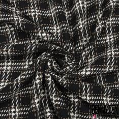 Coton Natté Imprimé Carreaux écru taupe choco et gris Fond noir