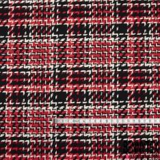 Coton Natté Imprimé Carreaux effet chevron rouge vif blanc et noir