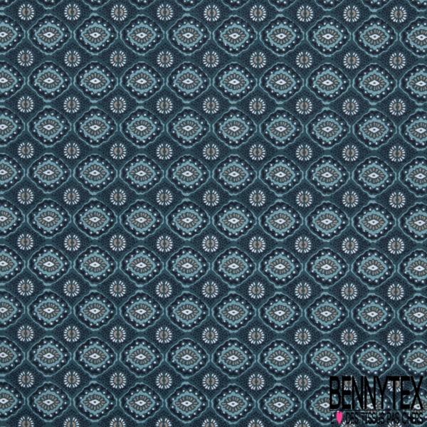 Coton imprimé motif géométrique en forme de yeux Fond bleu canard