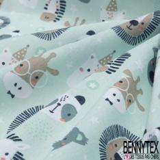 Coton imprimé motif animaux fantaisies zèbres lion ours Fond bleu clair