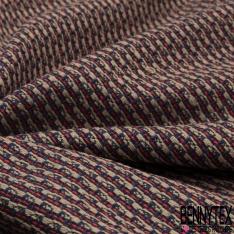 Coton Natté Imprimé Rayure fantaisie rouge lin et bleu marine