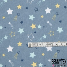Coton imprimé motif étoile blanche bleue et jaune Fond bleu pastel foncé