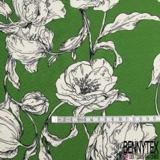 Fibrane Viscose Imprimé Motif fleur écru Fond vert