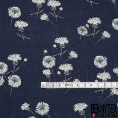 Fibrane Viscose Imprimé Motif fleur blanc et gris Fond bleu marine