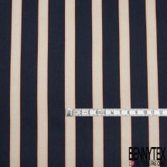 Fibrane Viscose Imprimé Motif rayure saumon et beige Fond bleu nuit