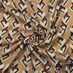 Fibrane Viscose Imprimé Motif forme géométrique fantaisie écru et camel foncé Fond camel clair
