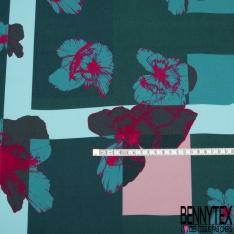 Fibrane Viscose Imprimé Motif fleur Fond fantaisie vert