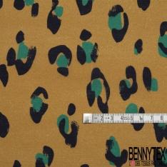 Voile de Coton Imprimé Motif léopard bleu marine et turquoise Fond camel