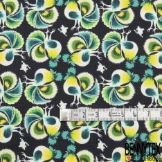 Popeline Coton Imprimé Motif coq fantaisie jaune et vert Fond noir