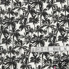 Popeline Coton Imprimé Motif palmier noir Fond blanc