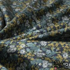 Satin de Coton Elasthanne Imprimé fleur bleu turquoise et fuchsia Fond noir