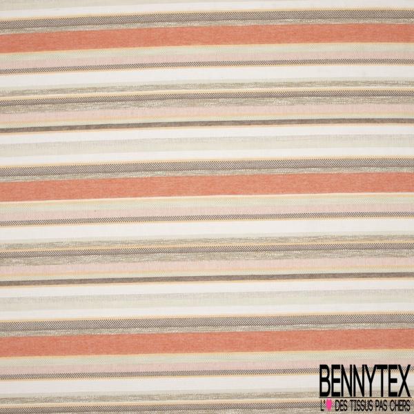 Coupon 3m Coton Natté Imprimé rayure beige taupe orange et marron