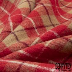 Laine Gros carreaux épais Gratté Double Face camel et rouge