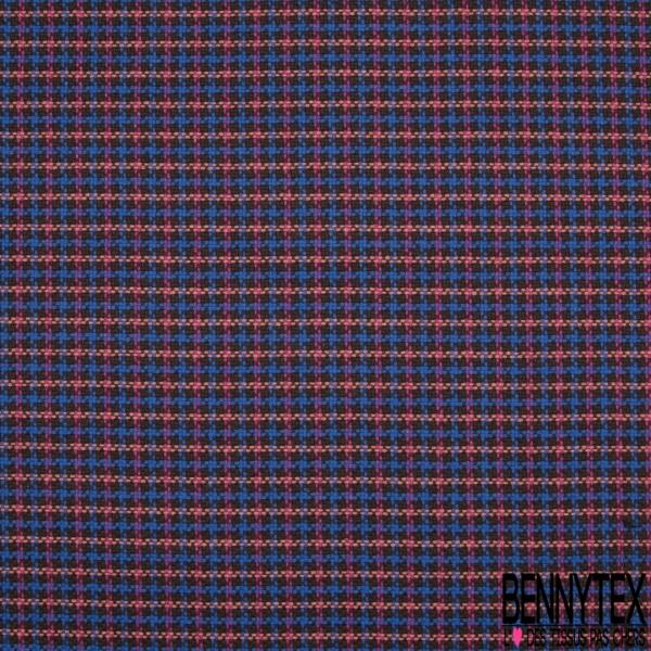Laine Natté Polyester marron bleu roi corail et framboise