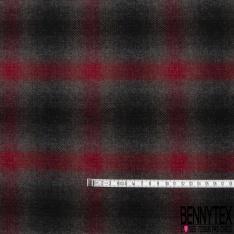 Velours de Laine carreaux noir rouge gris et taupe