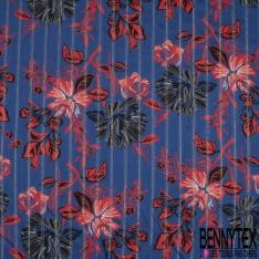 Fibrane Viscose Imprimé Motif fleur fantaisie rouge et noir rayure LUREX Fond bleu roi