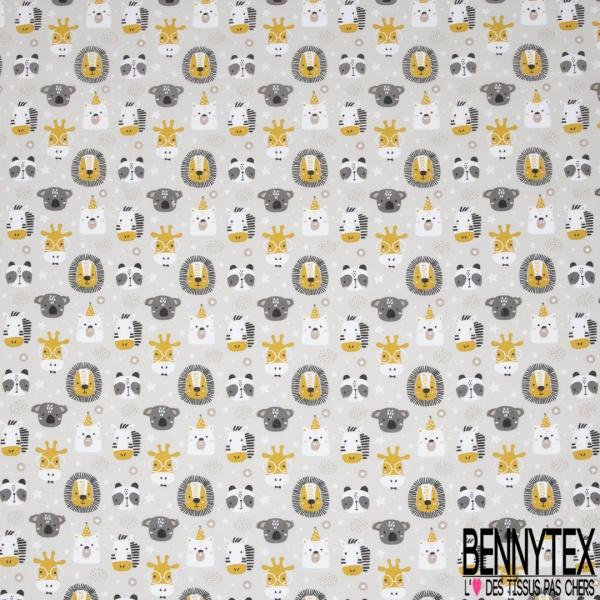 Coton imprimé motif têtes animaux fantaisies zèbres lion ours Fond gris clair