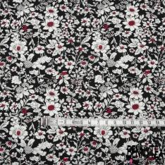 Coton imprimé Motif Floral ton Orchidée Blanc et Bordeaux Vintage Fond noir