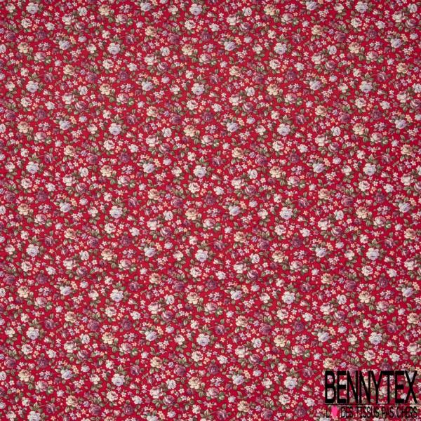 Coton imprimé Motif fleur ton violet Fond rouge
