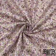 Coton imprimé Motif floral ton mauve Fond lilas