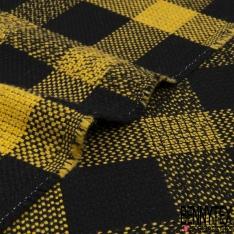 Laine Fluide gros carreaux jaune et noir abeillé